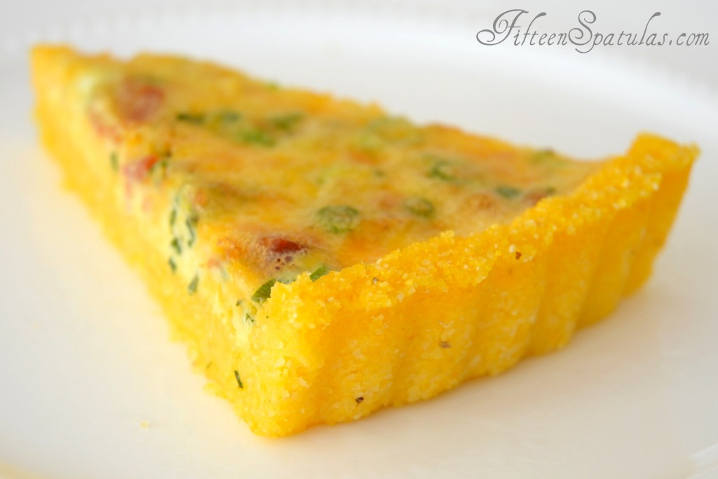 Slice of Breakfast Quiche with Grits Crust