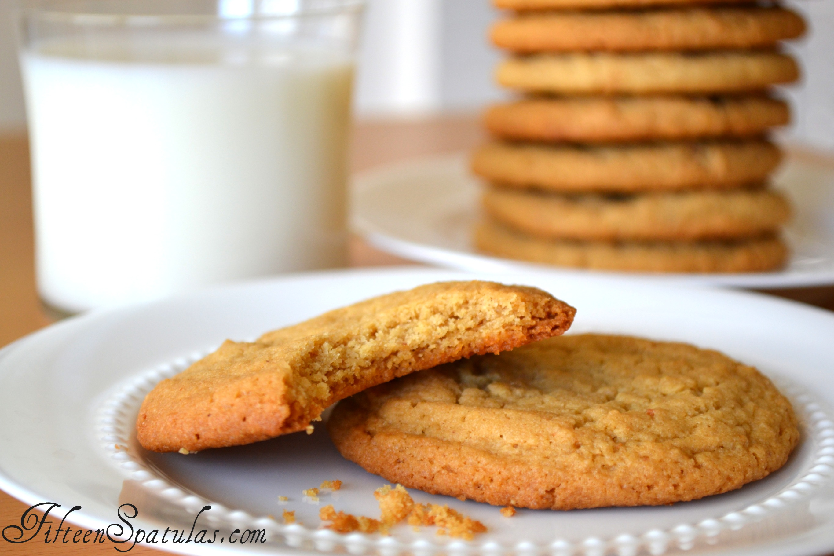Peanut Butter Cookies on a Plate with Glass of Milk